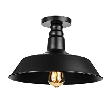 Industrial Simple Mini Ceiling Light – LITFAD 14 Vintage Antique Chandelier Pendant Lamp Edison Semi Flush Mounted Pendant Light Black