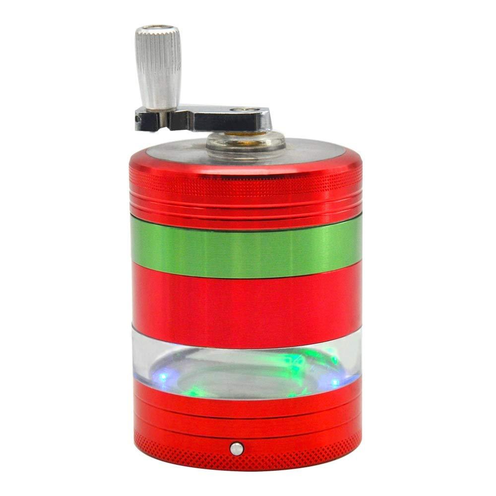 Yzyamz Herb Grinder, Aluminum Alloy 5-layer Side Window Hand-cranked Metal Lamp Lighter Metal Smoker Manual Grinding Desktop Table Grinder 2.1 Inches (53Mm) (Color : Red) by Yzyamz