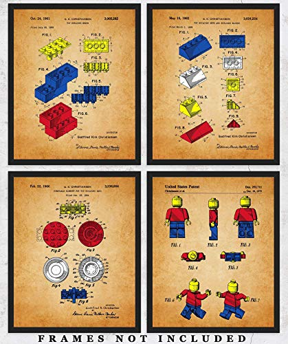 Vintage Lego Patent Wall Art Prints: Unique Room Decor for Boys, Men, Girls & Women - Set of Four (8x10) Unframed Pictures - Great Gift Idea for Lego Fans!