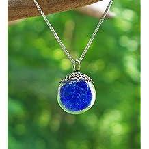Recycled Vintage Cobalt Noxzema Jar Glass Orb Necklace