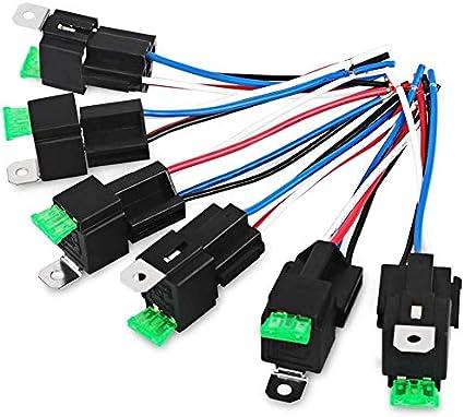 DollaTek 6Pcs 24V 30A Mazo de Cables del relé de fusibles Fusible de Cuchilla ATO/ATC, relés eléctricos automotrices SPST de 4 Pines con Cables de Alta Resistencia de 14 AWG