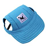 Dog Baseball Cap Adjustable Dog Outdoor Sport Sun Protection Visor Hat with Ear Holes for Small Dogs (M, Blue)