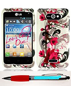 Accessory Factory(TM) Bundle (the item, 2in1 Stylus Point Pen) LG MS770 Motion 4G Red Flower on White Case Cover Protector