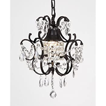 CHANDELIER WROUGHT IRON CRYSTAL CHANDELIERS H14\