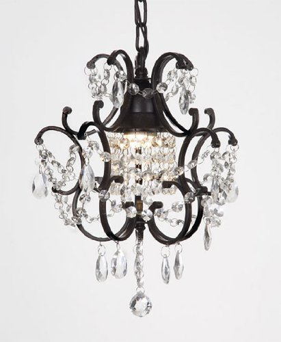 CHANDELIER WROUGHT IRON CRYSTAL CHANDELIERS H14″ W11″