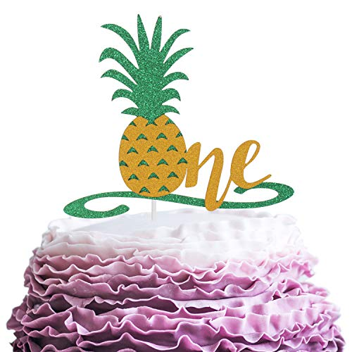 Happy Baby's 1st Birthday Party Cake Topper - Hawaii Tropical Theme Glitter Pineapple Picks Décor - Novelty Wild One Year Old Baby Shower Cupcake Decoration (Best Cake For 1 Year Old)