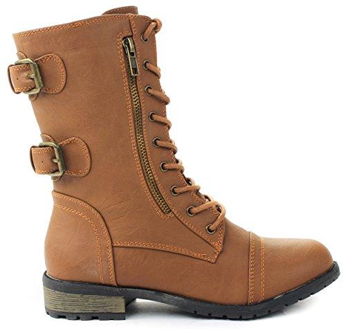 JJF Shoes Mango-61 Women Tan Combat Lace Up Zip Grommet Buckle Mid Calf Motorcycle Boots-8.5 ()
