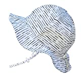 Twinklebelle Newborn Infant Baby Boy Girl Breathable Sun Hat 50 UPF, Adjustable, Stay-On Tie (S: 0-9m, Floppy Hat: White Waves)