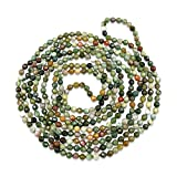 BjB 70 Inch 4MM Faceted Natural Fancy Jasper Beaded Light Weight Endless Infinity Long Necklace