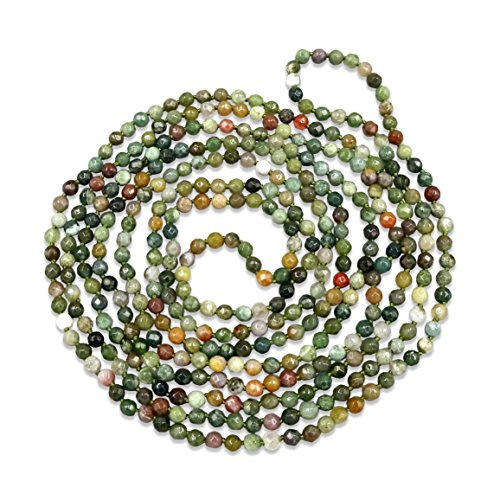 - MGR MY GEMS ROCK! BjB 70 Inch 4MM Faceted Natural Fancy Jasper Beaded Light Weight Endless Infinity Long Necklace