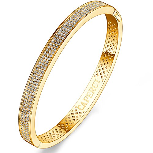 Caperci Oval Pave Cubic Zirconia 14k Gold Plated Bangle Bracelet for Women, (Yellow Gold Cubic Zirconia Bracelet)