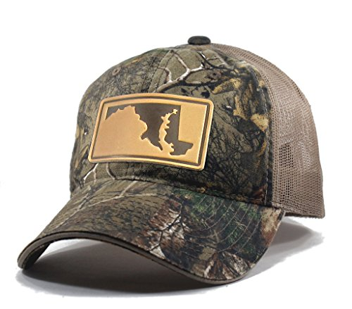 Homeland Tees Men's Maryland Leather Patch Camo Trucker Hat - -