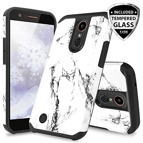 TJS Case for LG Aristo 2/Aristo 2 Plus/Aristo 3/Aristo 3 Plus/Tribute Dynasty/Tribute Empire/Fortune 2/Rebel 3 LTE [Full Coverage Tempered Glass Screen Protector] Hybrid Armor Marble Phone (White)
