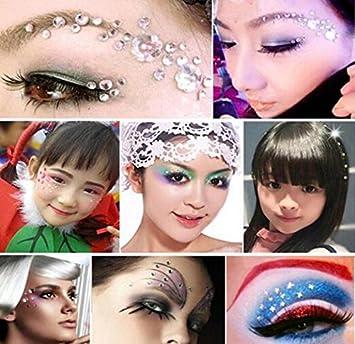 Decori autoadesivi 1 foglio per arti e mestieri per viso corpo occhi e unghie 12 mm 4 dimensioni: 5 mm 8 mm argento 10 mm