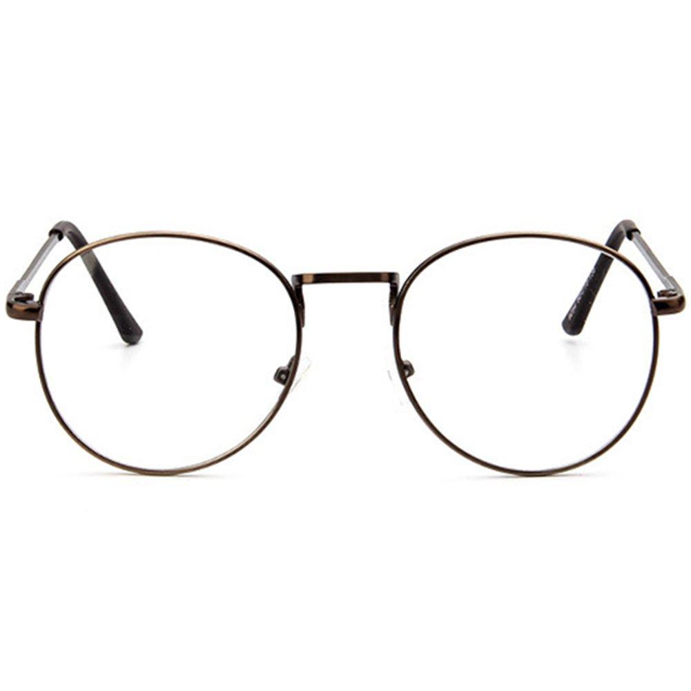 Z-P Unisex Glasses Retro Round Metal Thin Edge Frame Clear Lens