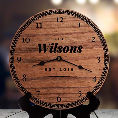 AndCo 12 Inch Wood Clock, Home Decor for Mantels and Fireplaces Rustic Modern Home Decorating Ideas Living Room Decor Ideas with Fireplace Fresh Retro, Clock Only, Wall Clock