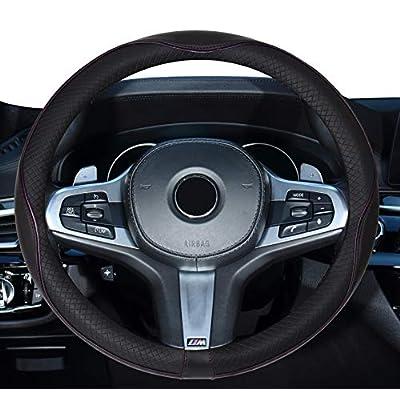 DuoDuoBling Genuine Black Leather Steering Wheel Cover 15 Inch for Men 2020 New Automotive Cute Jeep Car Interior Accessories (Purple): Automotive