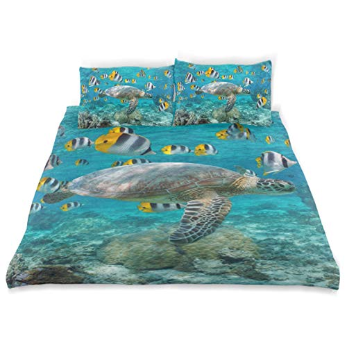 CANCAKA Green Duvet Cover Set Green Sea Turtle School Tropical Fish Design Bedding Decoration Twin Size 3 PC Sets 1 Duvets Covers with 2 Pillowcase Microfiber Bedding Set Bedroom Decor Accessories