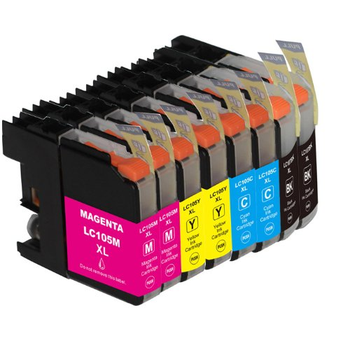 Compatible Brother LC107BK LC105C LC105Y LC105M (XXL Series) Super High Yield ink cartridges for MFC-J4310DW,J4410DW,J4510DW,J4610DW,J4710DW (8 pc Value-Pack LC107 Black;LC105 Cyan,Yellow,Magenta)