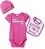 "Gerber Childrenswear ""Sweetest"" Bodysuit, Bib & Cap Set, 3 - 6 Months, Pink, Baltimore Ravens"