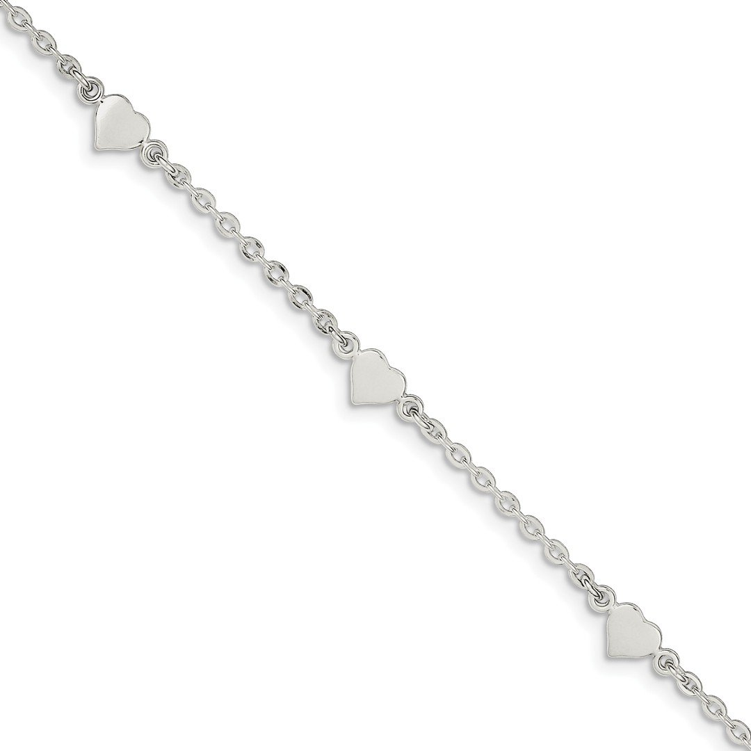 Ankle Bracelet Foot Jewelry Anklet - ICE CARATS 925 Sterling Silver 9 Heart 1 Inch Adjustable Chain Plus Size Extender Anklet Ankle Beach Bracelet Fine Jewelry Ideal Gifts For Women Gift Set From