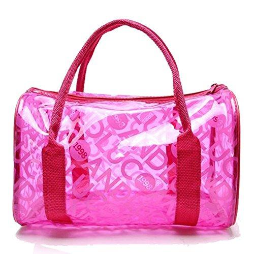 Qiansheng - Bolso de mano de moda, para dama, portátil en color gelatina con lunares, bolso de PVC para playa, bolso de mano para verano, bolso de PVC transparente, bolso con cremallera para deportes, Rojo Rosado