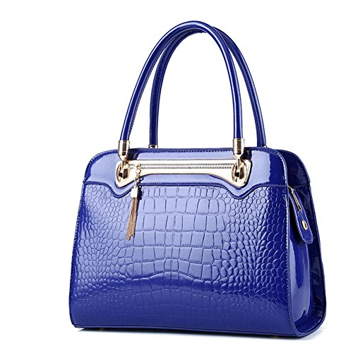 (G-AVERIL) Borse In Pelle Designer Top-Handle Spalla Del Tote Della Borsa Per Le Donne Blu scuro