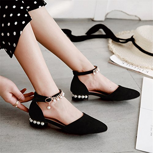 YE Damen Flache Spitze Pumps mit Knöchelriemchen und Perlen Bequem Schuhe Schwarz