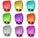 LEFV trade; Sky Lanterns Chinese Paper Fly Fire Wish Candle Lamp Party Wedding Birthday Multi Color - Pack of 12