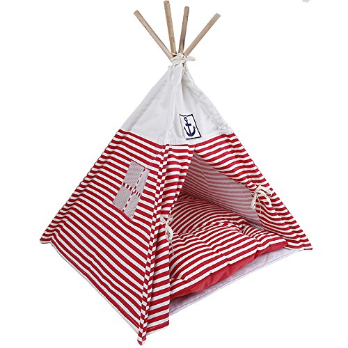 VIILER- Pet Supplies Washable Durable Navy Stripe Style Pet House Tent and Pet Bed with Strong Sticks and Comfortable Mat Set for Little Dogs and Cats (Red Tent with Cushion)