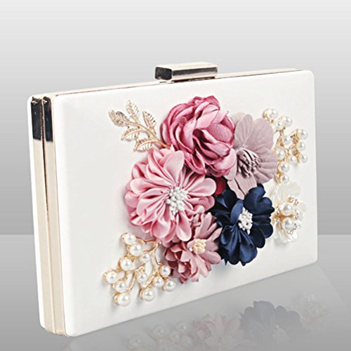 Flower Womens Bags Purses Wedding Clutches and 7 black Evening Party SxBnxCq