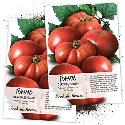 Seed Needs, German Johnson Tomato (Solanum lycopersicum) Twin Pack of 80 Seeds Each Non-GMO
