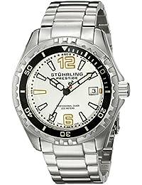 Stuhrling Original Men's 382.3311 Prestige Swiss Regatta Captain Quartz Diver Date Silver Dial Watch
