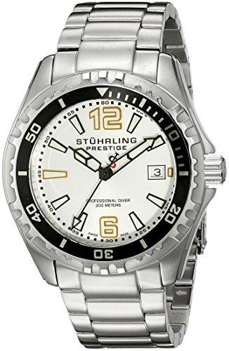 Stuhrling Original Men's 382.33112 Prestige Swiss Regatta Captain Quartz Diver Date Silver Dial Watch (Prestige Bezel Bracelet)