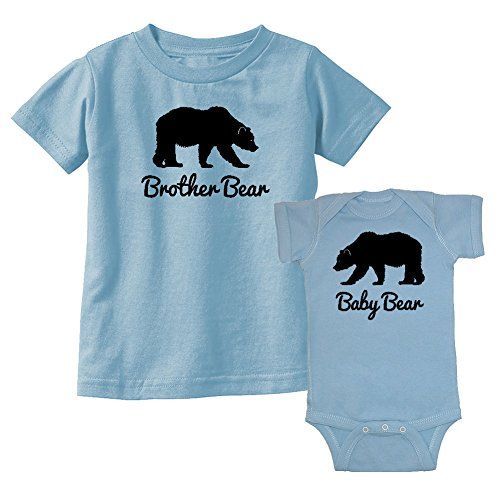 We Match! Brother Bear & Baby Bear Matching Kids T-Shirt & Bodysuit Set (6M Bodysuit, Toddler 4T, Organic (Bear Organic Kids T-shirt)