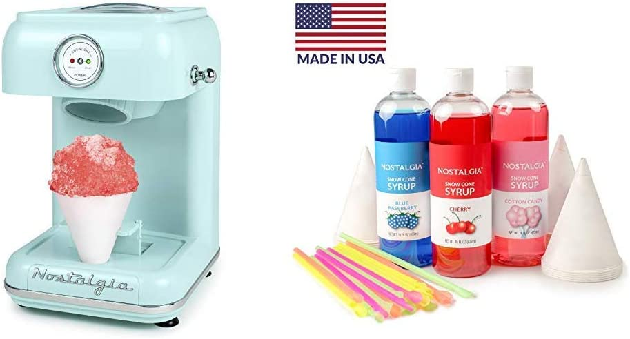 Nostalgia CLSC1AQ Classic Retro Single Countertop Snow Cone Maker with Snow Cone Syrup Party Kit