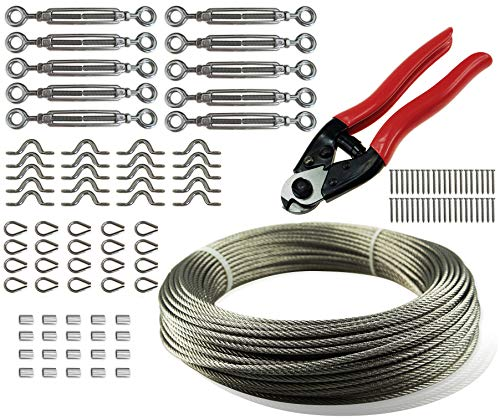 """Cable Railing Kit Set, with 328Feet 1/8"""" Stainless Steel Wire Rope Cable, Cable Cutter, Eye-Eye Turnbuckles, Thimbles, Eye Straps, Swages (Ferrules) and Screws, Heavy Duty, Muzata"""