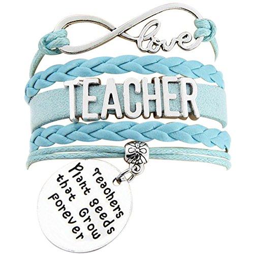 Infinity Love Teachers Plant Seeds That Grow Forever Bracelet (Teacher Light Blue Infinity Love (Teachers Plant Seeds)
