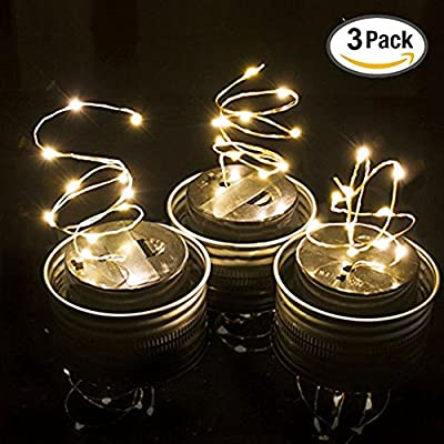 3 Pack - Mason Jar Lights with solar , LED color Solar Fairy Lights, outdoor Solar String Lights of waterproof (Jars Not Included) (White)