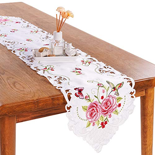 Scarf Butterflies Dresser (Bone & Tissue Embroidered Table Runner, 1 Pc White Dresser Scarf with Spring Butterfly and Flower Embroidery and Hollow Out Design, 13 x 68 Inch)