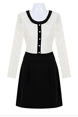 412a81a74b Angel Lily Sexy Long-Sleeved lace Dress LS300 Plus Size 0X Black and White