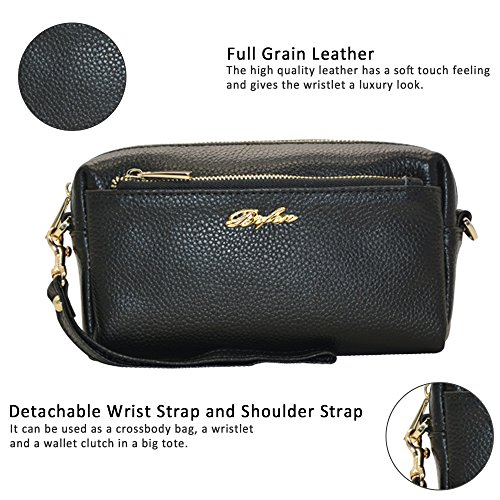 6 8 5 Cluth Samsung Full B Bag Purse iPhone for Wristlets Black Wallet Plus Grain 4 Crossbody Women Cell Black 7 Zip Phone Trip Note Leather TH0Zxqx1