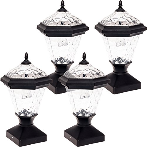 GreenLighting 4 Pack Adonia Solar Post Cap Light for 4 x 4 Wood Posts (Black)