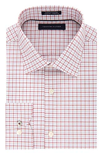 Tommy Hilfiger Men's Dress Shirt Slim Fit Stretch Check, Chili, 17.5