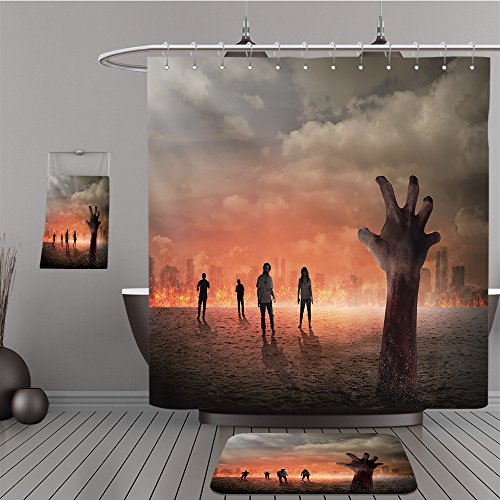 Uhoo Bathroom Suits & Shower Curtains Floor Mats And Bath Towels 314306261 Halloween concept, zombie hand rising out from the ground For Bathroom