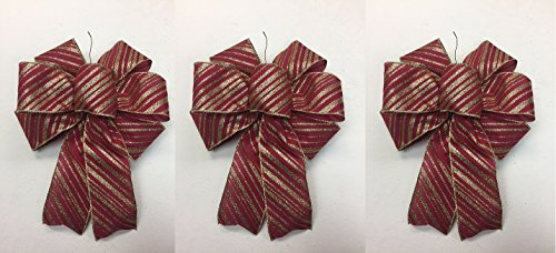 Wired Dark Red Bow With Gold Glitter Stripes Christmas Bows 3 Handmade Holiday Bows 8 - 9 Inches in Diameter - Hand Made Bow By Wreaths For Door