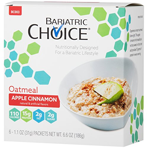 Bariatric Choice High Protein Oatmeal / Instant Low-Carb Hot Oatmeal Diet Cereal - Apple Cinnamon (6 Servings/Box) - Low Fat, Low Carb, Cholesterol Free