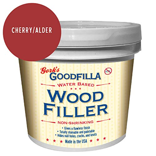Water-Based Wood & Grain Filler - Cherry/Alder - 1 Gallon by Goodfilla | Replace Every Filler & Putty | Repairs, Finishes & Patches | Paintable, Stainable, Sandable & Quick Drying
