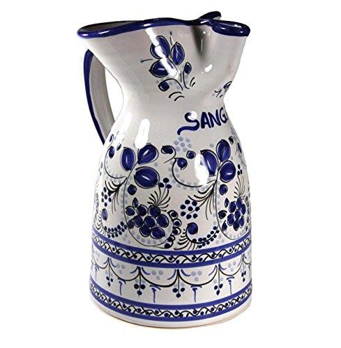 El Puente del Arzobispo Blue Flor Ceramic Sangria Pitcher (1/2 gallon capacity)