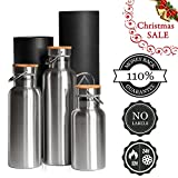 Thermal Insulated Water Bottle 25oz. Water Bottle Stainless Steel Double Wall for Hot or cold Beverages 500ml/750ml/1000ml - Outdoor Sports, Leak & Sweat proof Bamboo Cap.